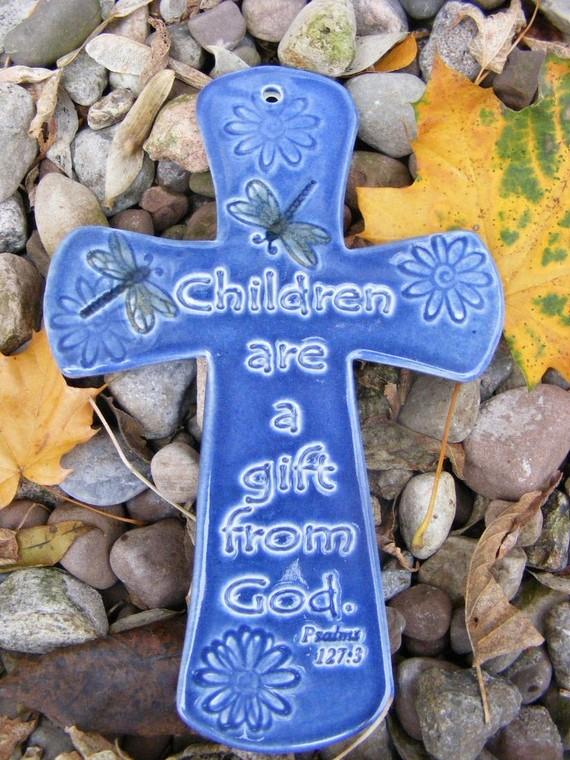 Children S Cross Plaque Blue