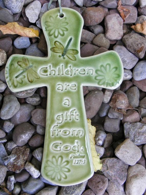 Children S Cross Plaque Green